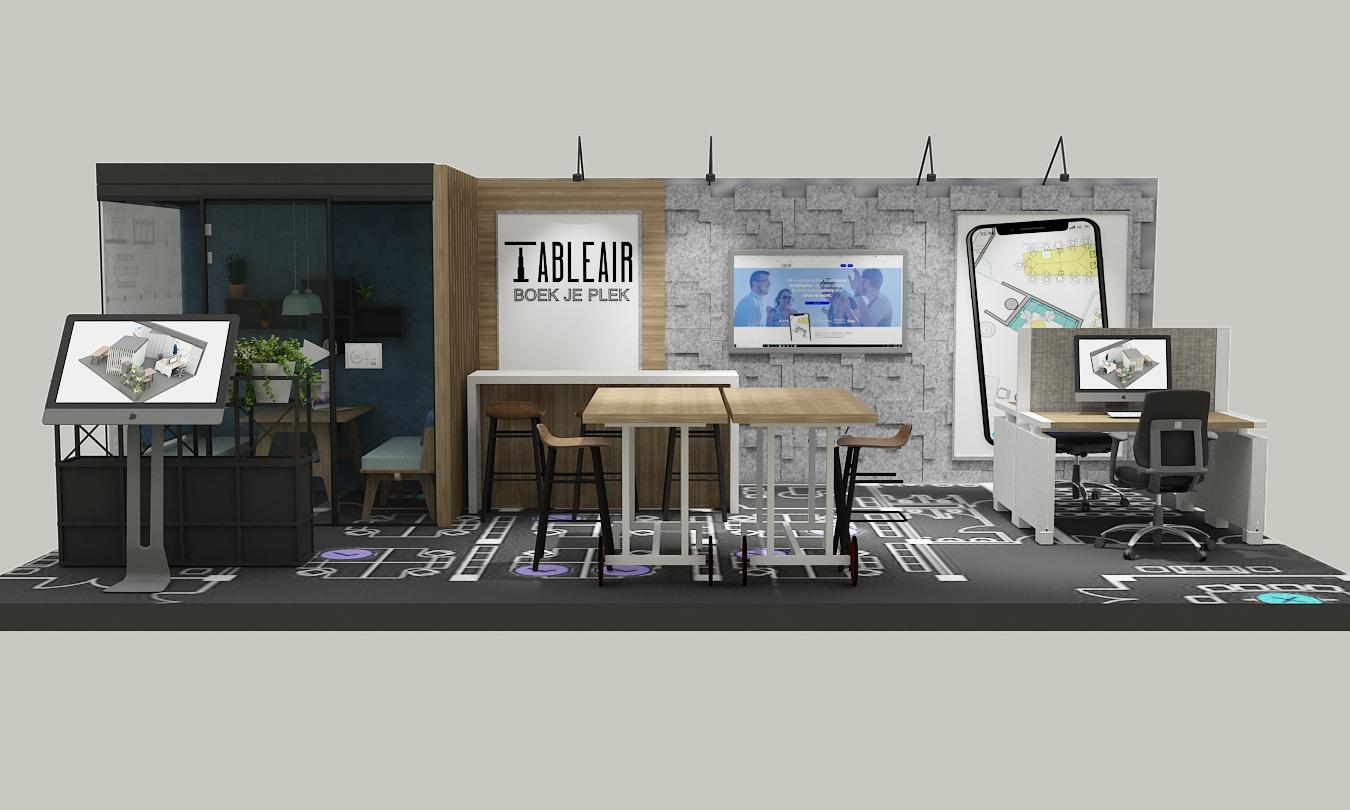 stand TableAir Vakbeurs Facilitair 2019 vooraanzicht beursstand